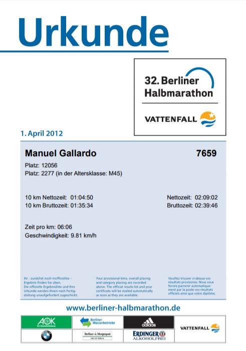 Manuel Gallardo Urkunde Halbmarathon 2012